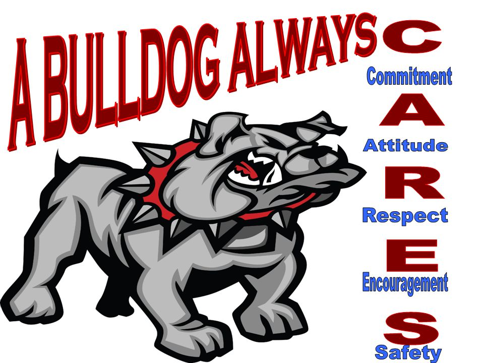 A BULLDOG ALWAYS Commitment Attitude CARES Respect Encouragement Safety