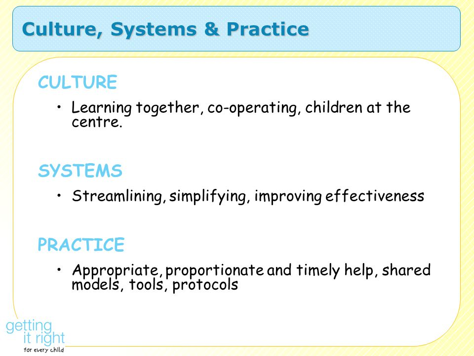 Culture, Systems & Practice