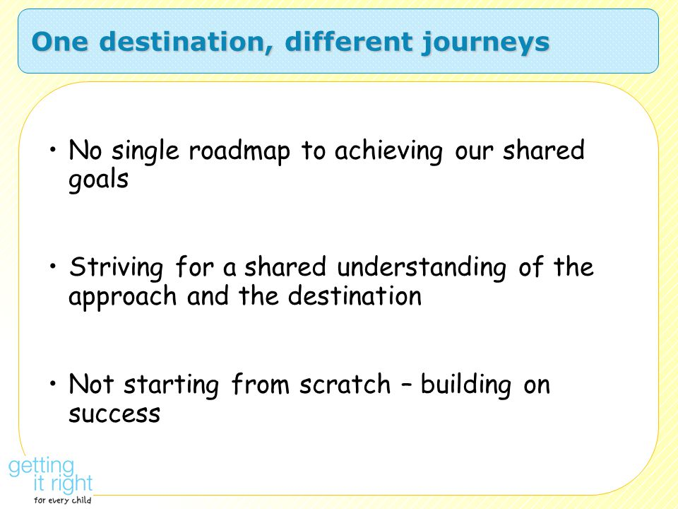 One destination, different journeys