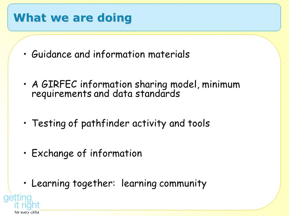 What we are doing Guidance and information materials