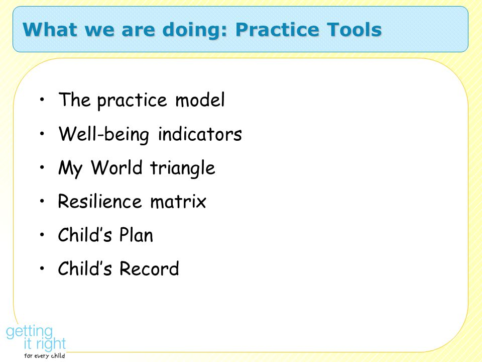 What we are doing: Practice Tools