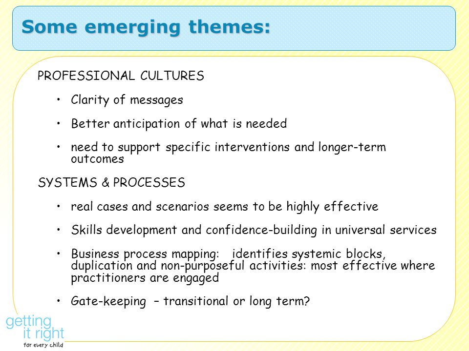 Some emerging themes: PROFESSIONAL CULTURES Clarity of messages