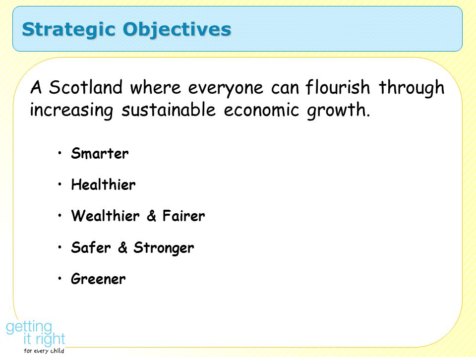 Strategic Objectives A Scotland where everyone can flourish through increasing sustainable economic growth.