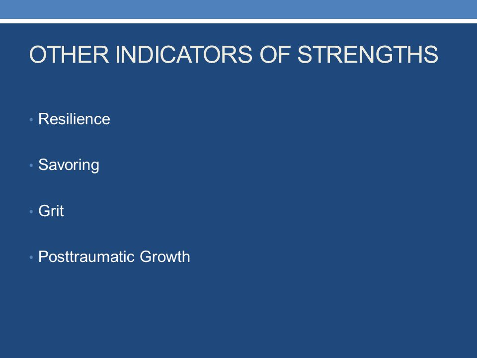OTHER INDICATORS OF STRENGTHS