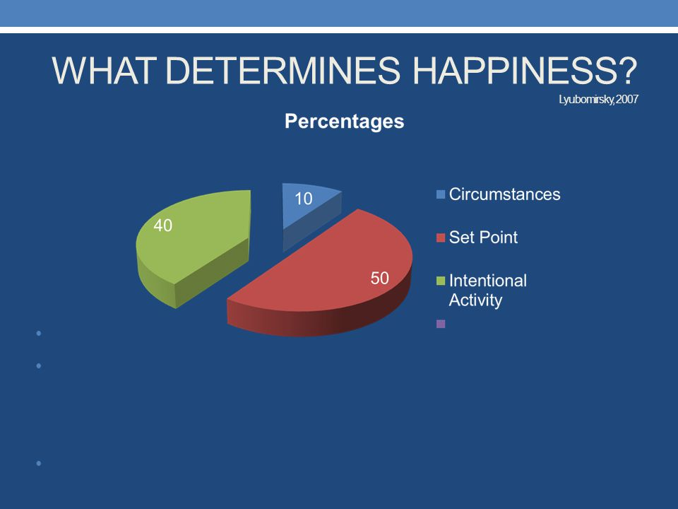 WHAT DETERMINES HAPPINESS Lyubomirsky, 2007