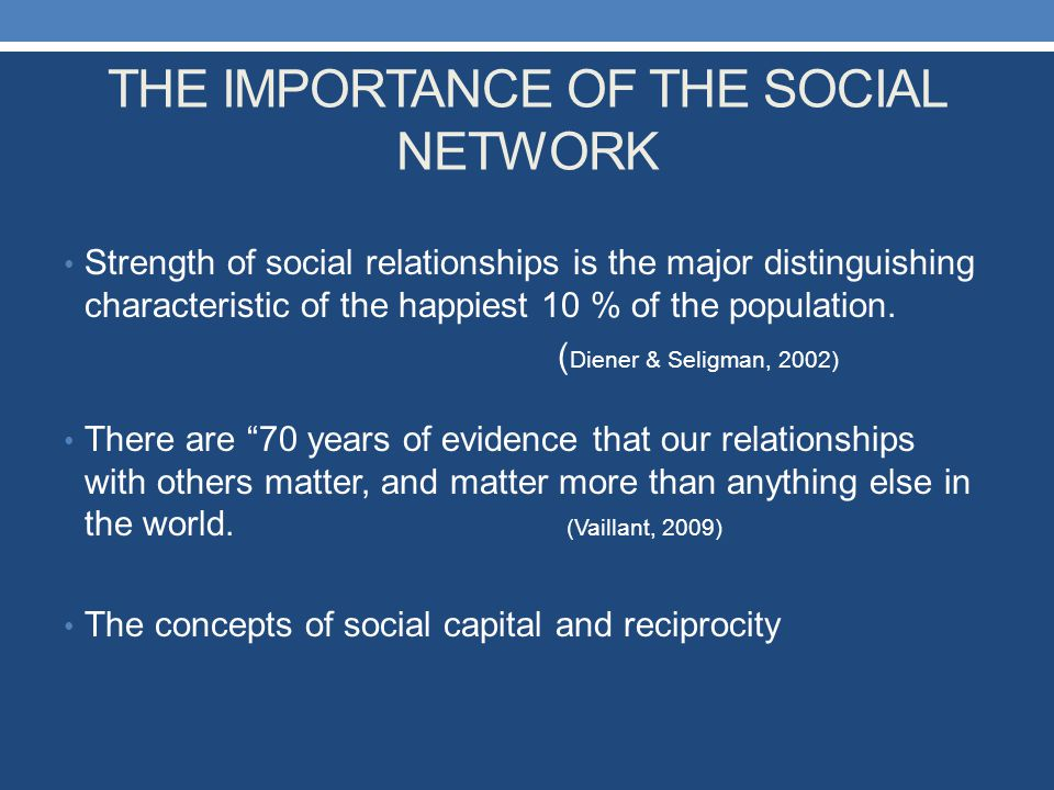 THE IMPORTANCE OF THE SOCIAL NETWORK