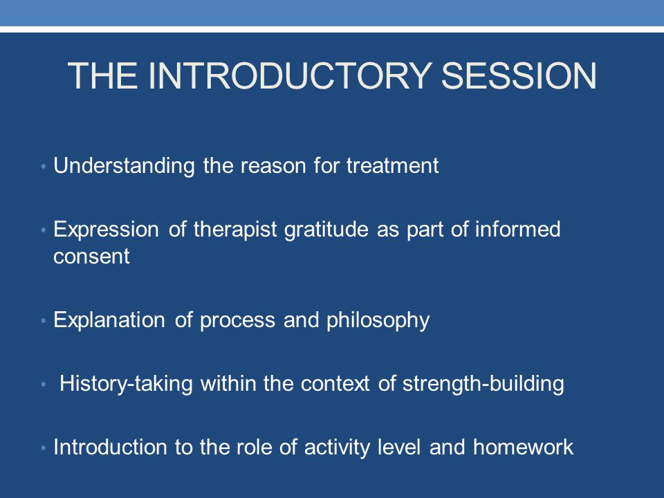 THE INTRODUCTORY SESSION