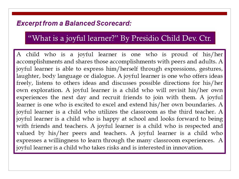 What is a joyful learner By Presidio Child Dev. Ctr.
