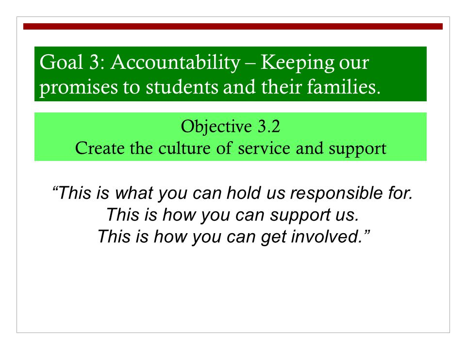 Goal 3: Accountability – Keeping our promises to students and their families.