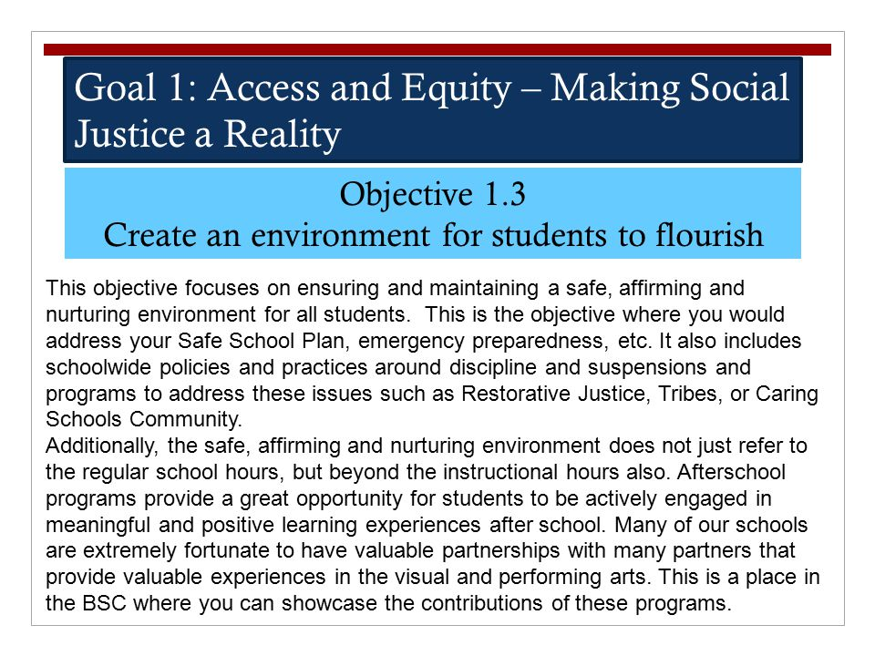 Create an environment for students to flourish