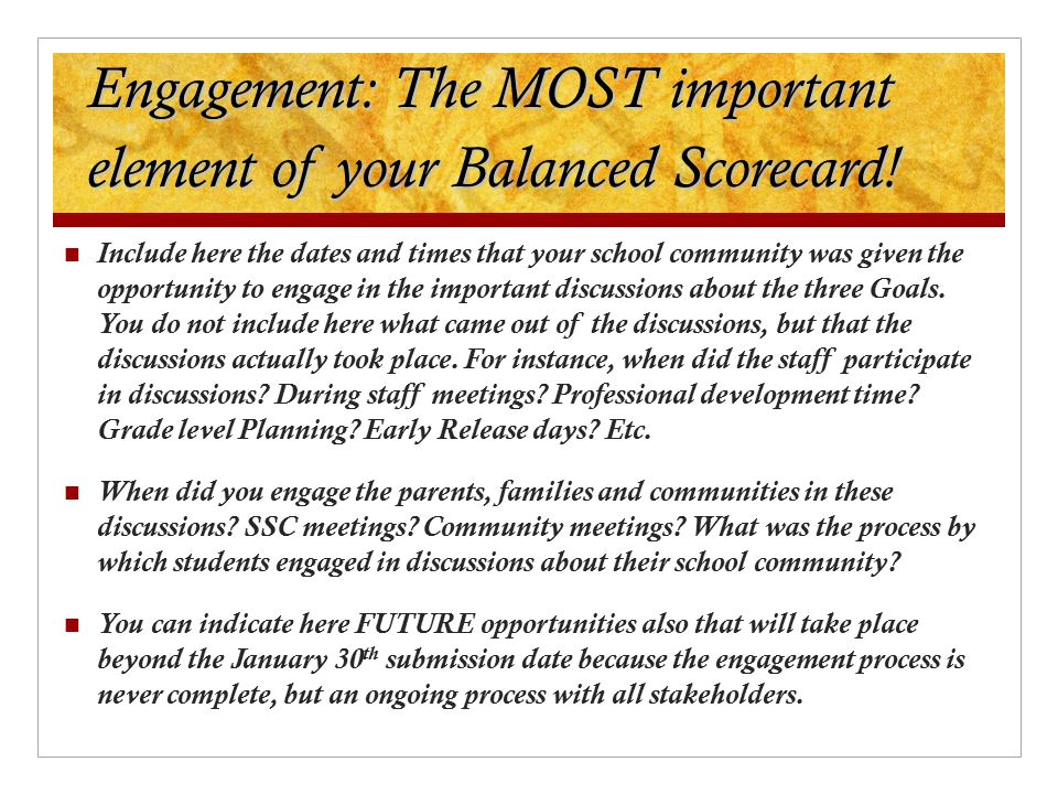 Engagement: The MOST important element of your Balanced Scorecard!
