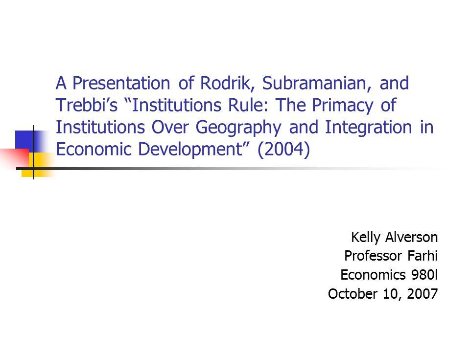 Kelly Alverson Professor Farhi Economics 980l October 10, 2007