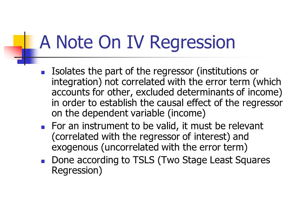 A Note On IV Regression