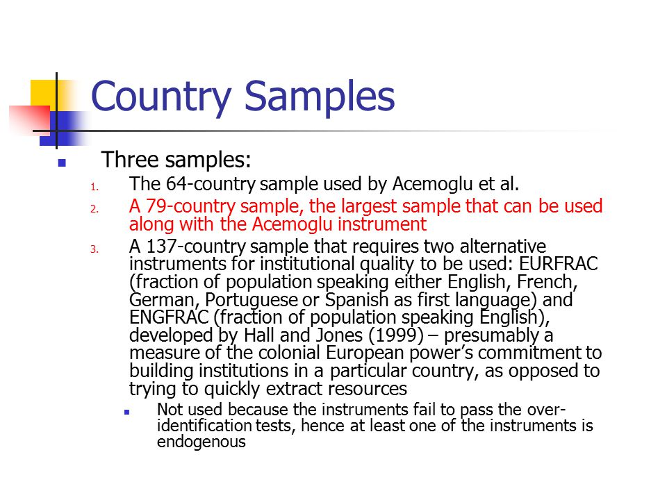 Country Samples Three samples: