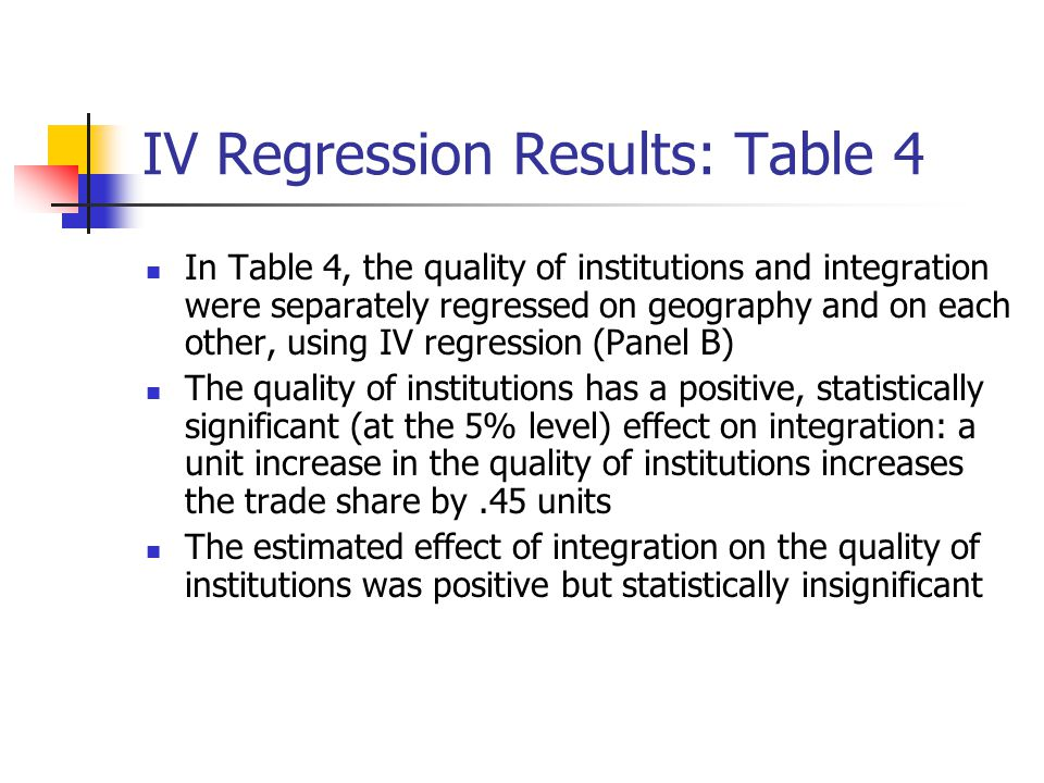 IV Regression Results: Table 4