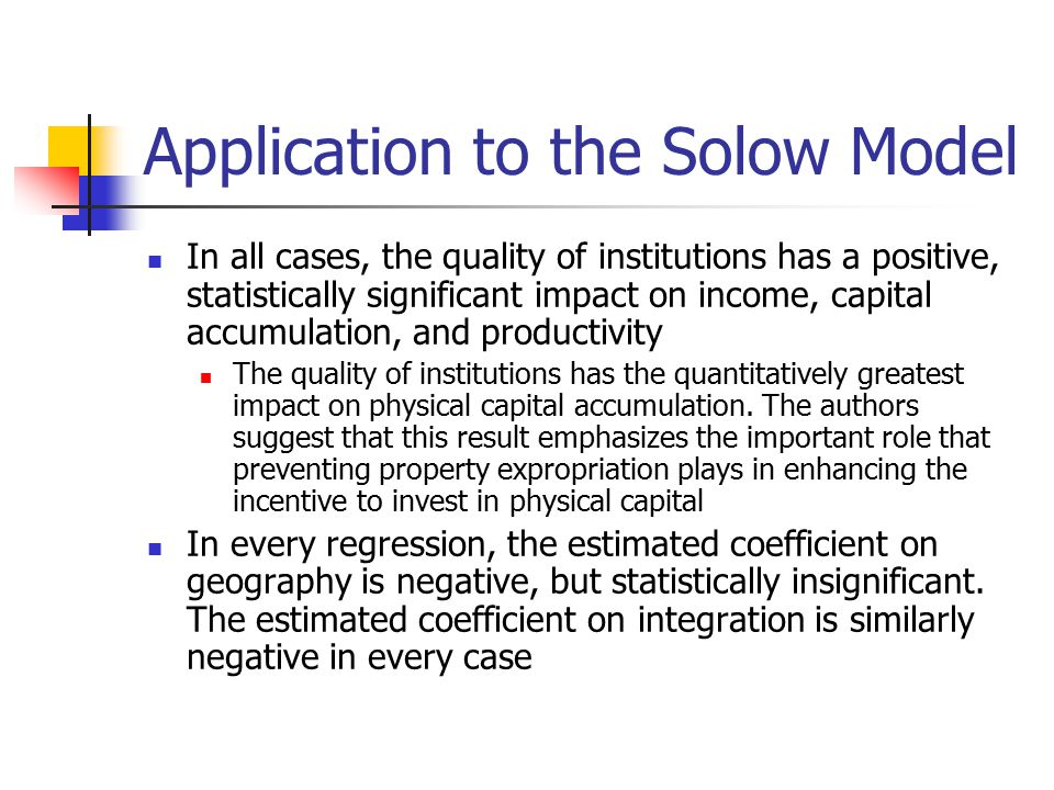 Application to the Solow Model