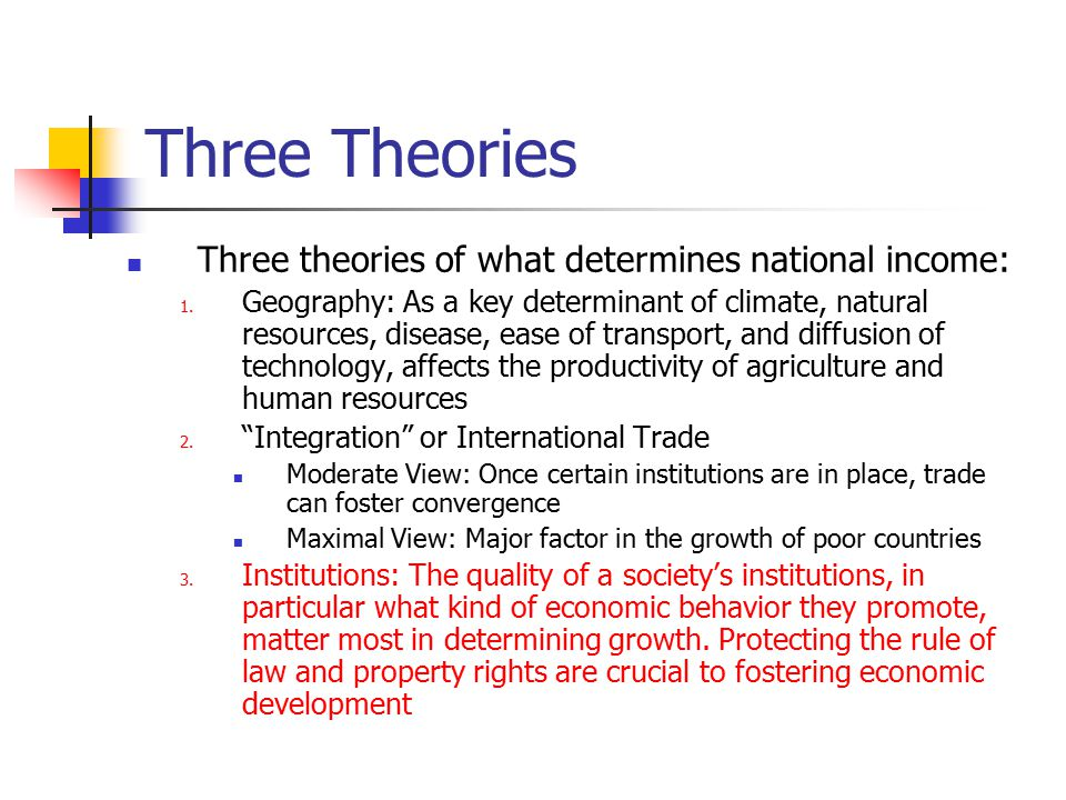 Three Theories Three theories of what determines national income:
