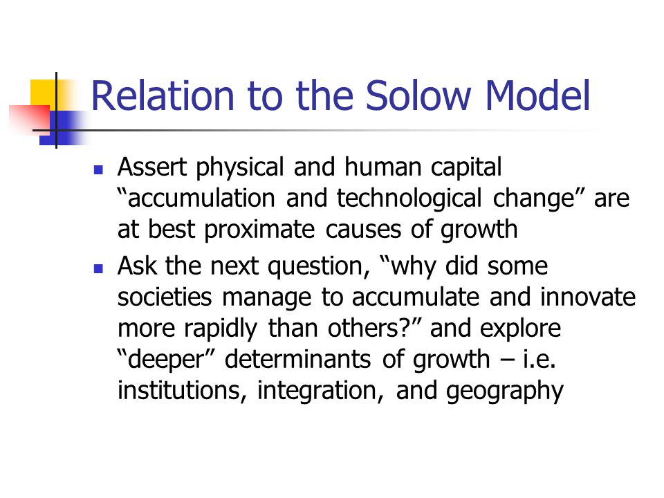 Relation to the Solow Model