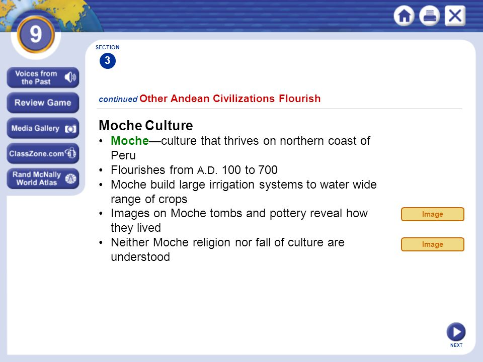 Moche Culture • Moche—culture that thrives on northern coast of Peru