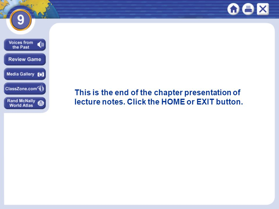 This is the end of the chapter presentation of lecture notes