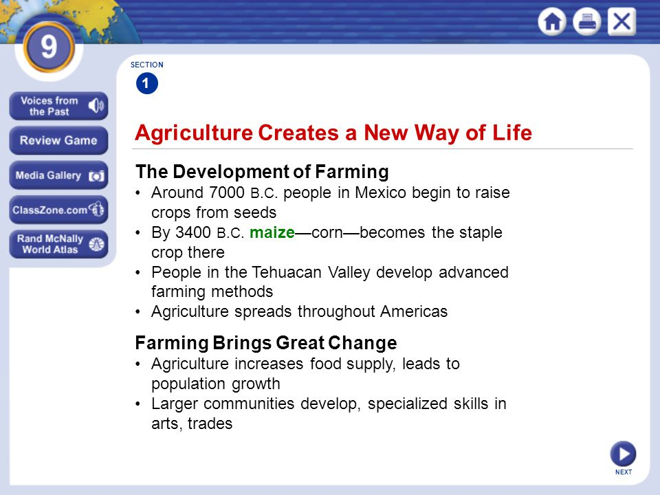 Agriculture Creates a New Way of Life