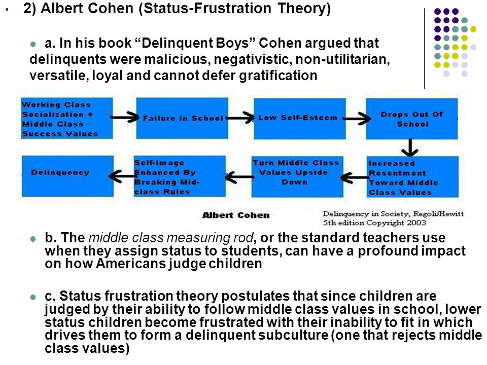 2) Albert Cohen (Status-Frustration Theory)