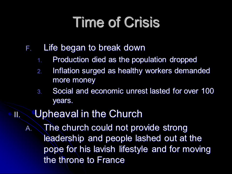 Time of Crisis Upheaval in the Church Life began to break down