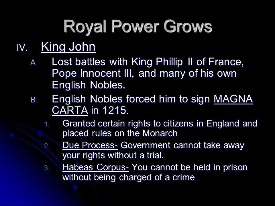 Royal Power Grows King John