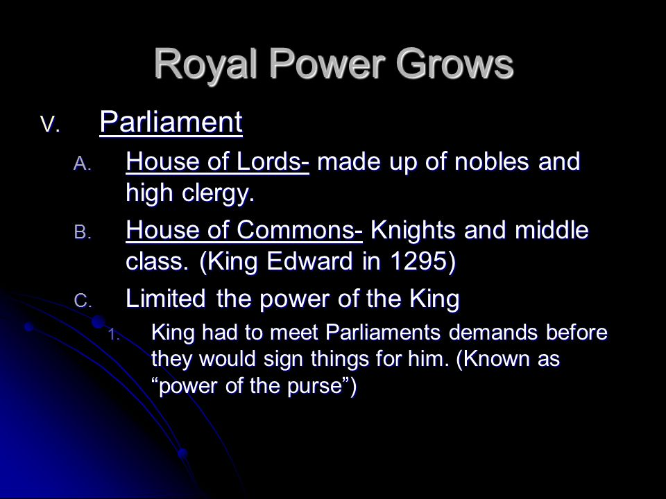 Royal Power Grows Parliament