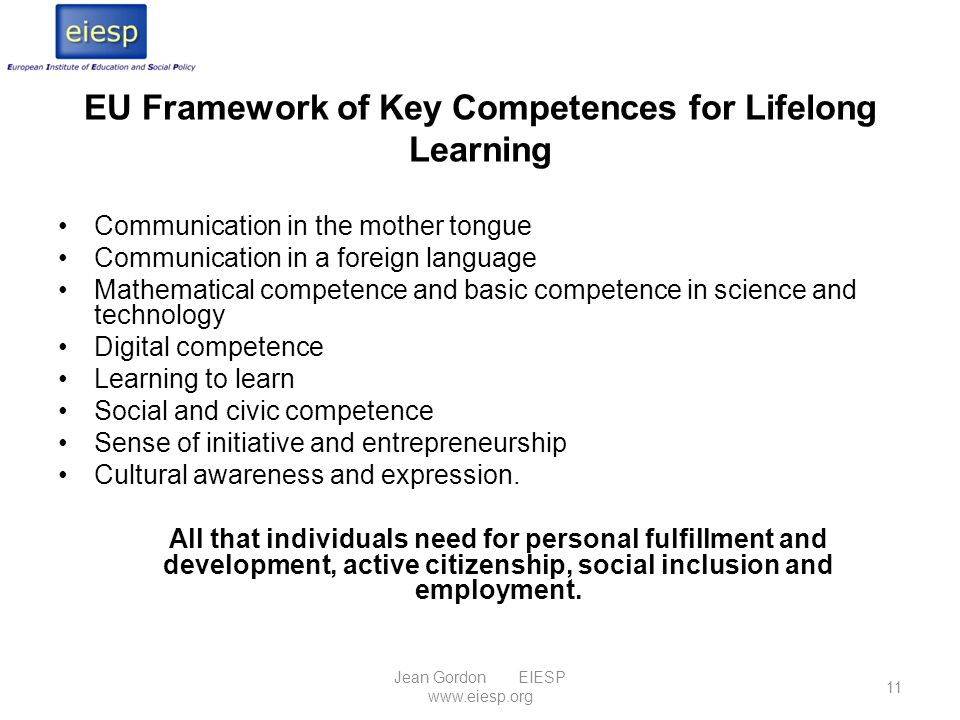 EU Framework of Key Competences for Lifelong Learning