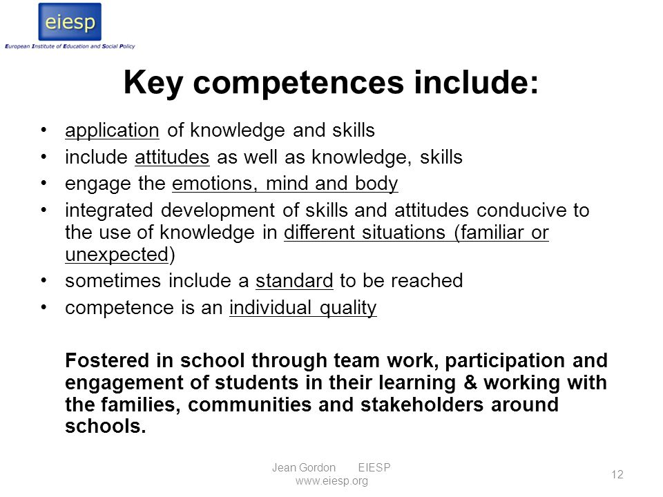 Key competences include: