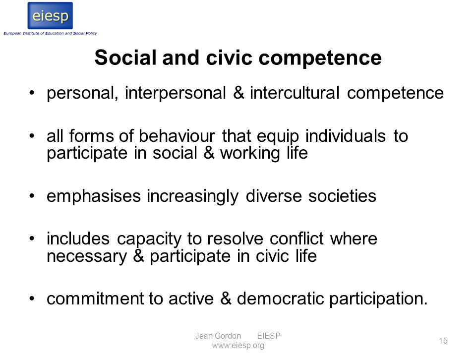 Social and civic competence