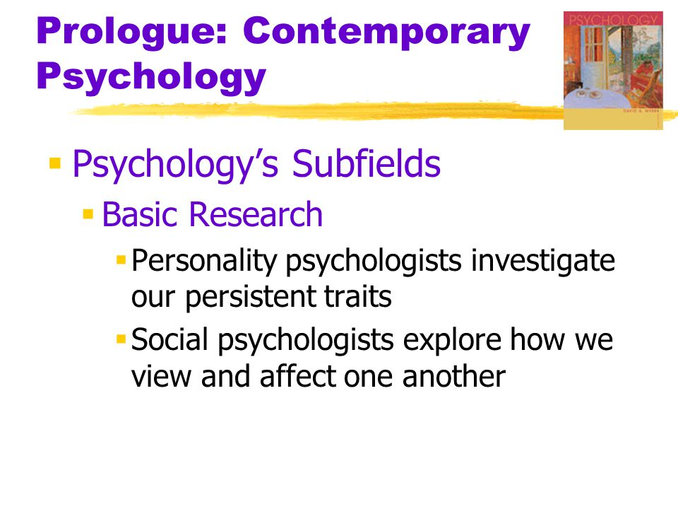 Prologue: Contemporary Psychology