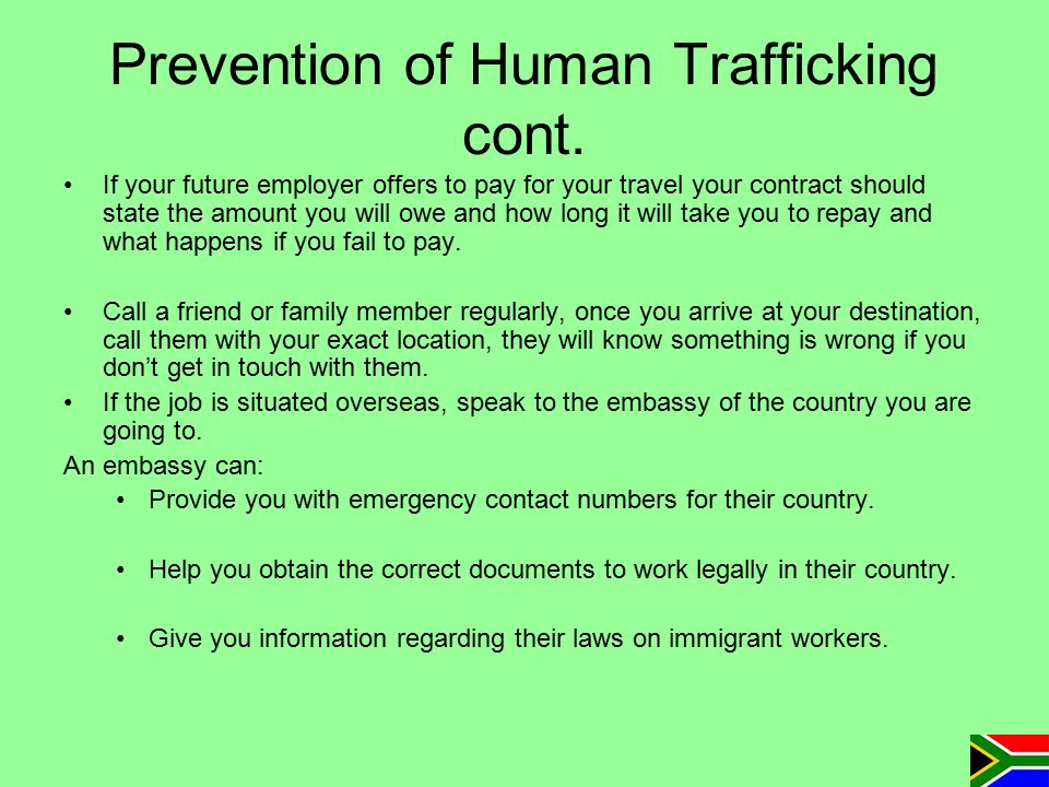 Prevention of Human Trafficking cont.