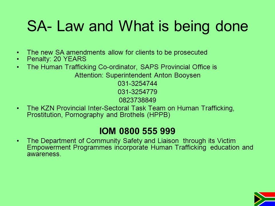 SA- Law and What is being done