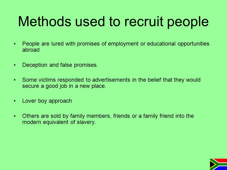 Methods used to recruit people