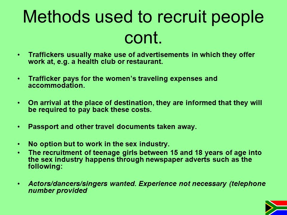 Methods used to recruit people cont.