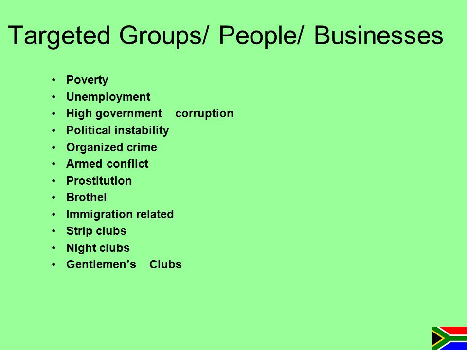 Targeted Groups/ People/ Businesses