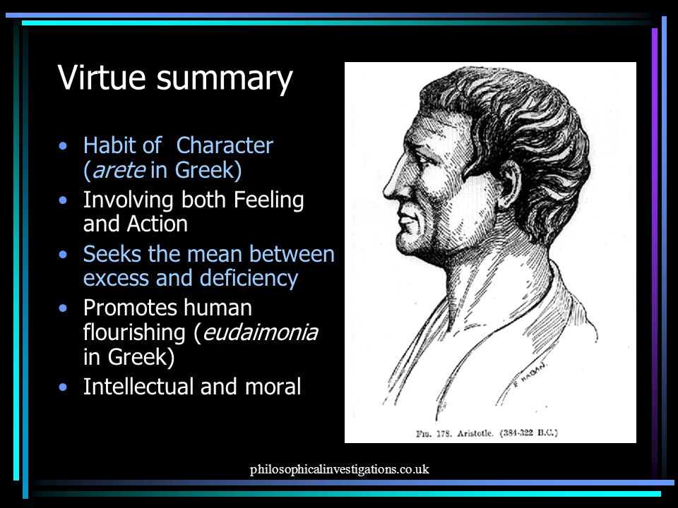 Virtue summary Habit of Character (arete in Greek)