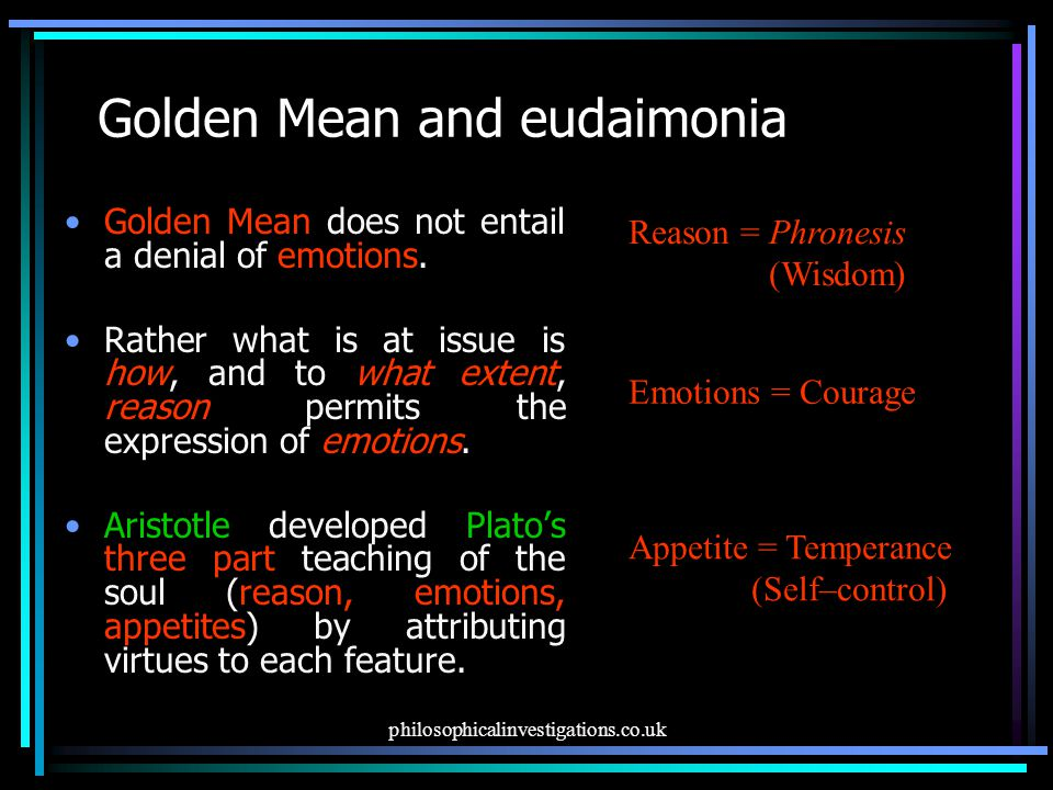 Golden Mean and eudaimonia