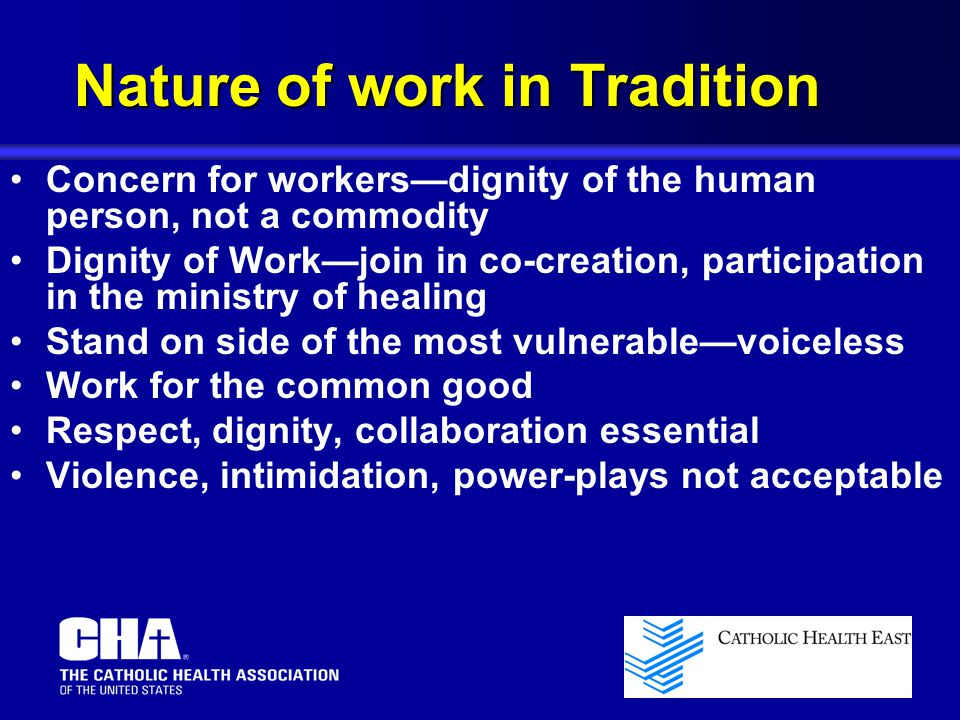 Nature of work in Tradition
