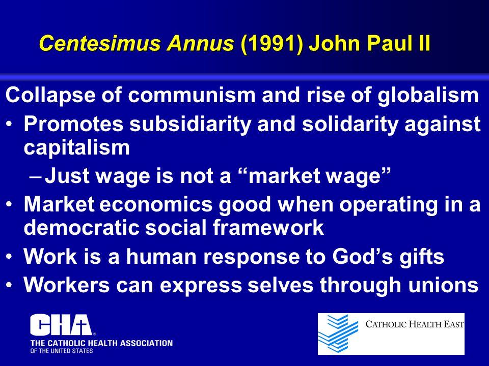 Centesimus Annus (1991) John Paul II