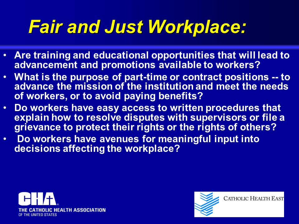 Fair and Just Workplace: