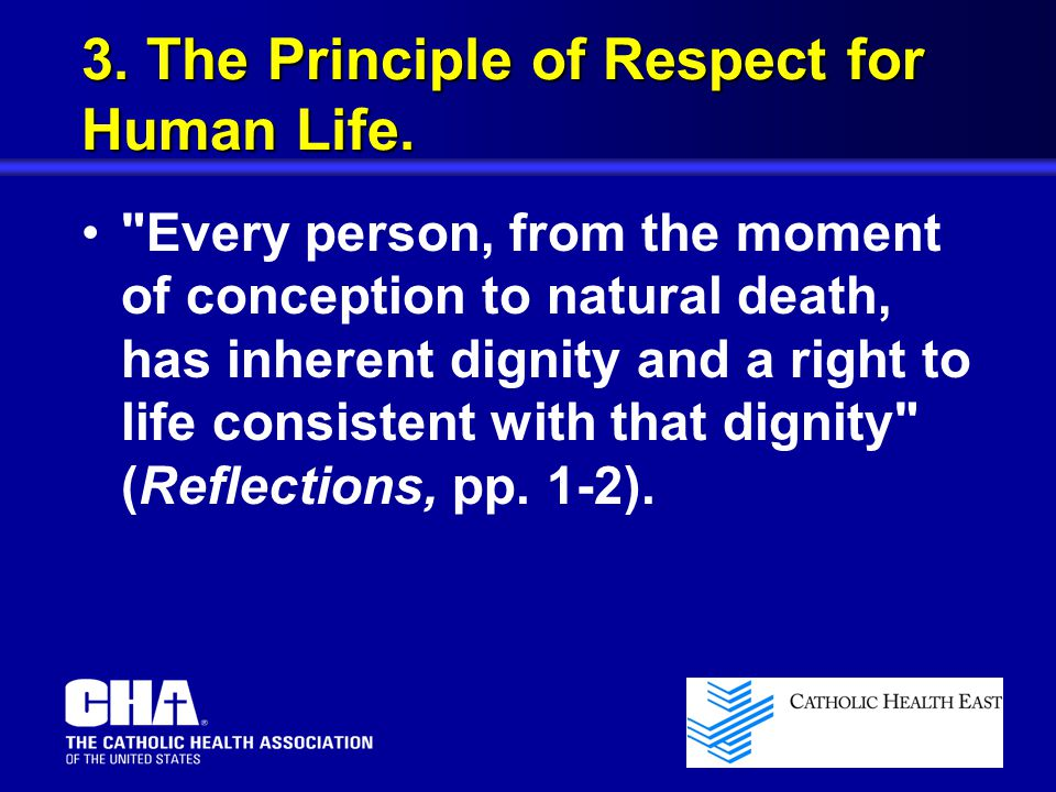 3. The Principle of Respect for Human Life.