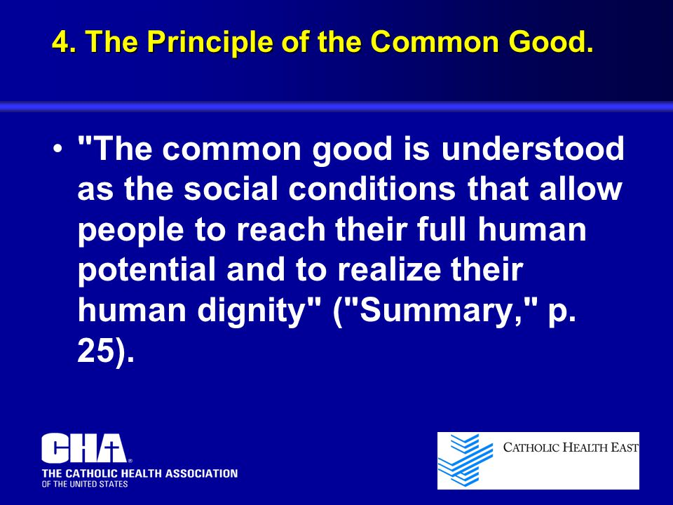 4. The Principle of the Common Good.
