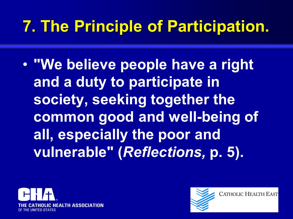 7. The Principle of Participation.