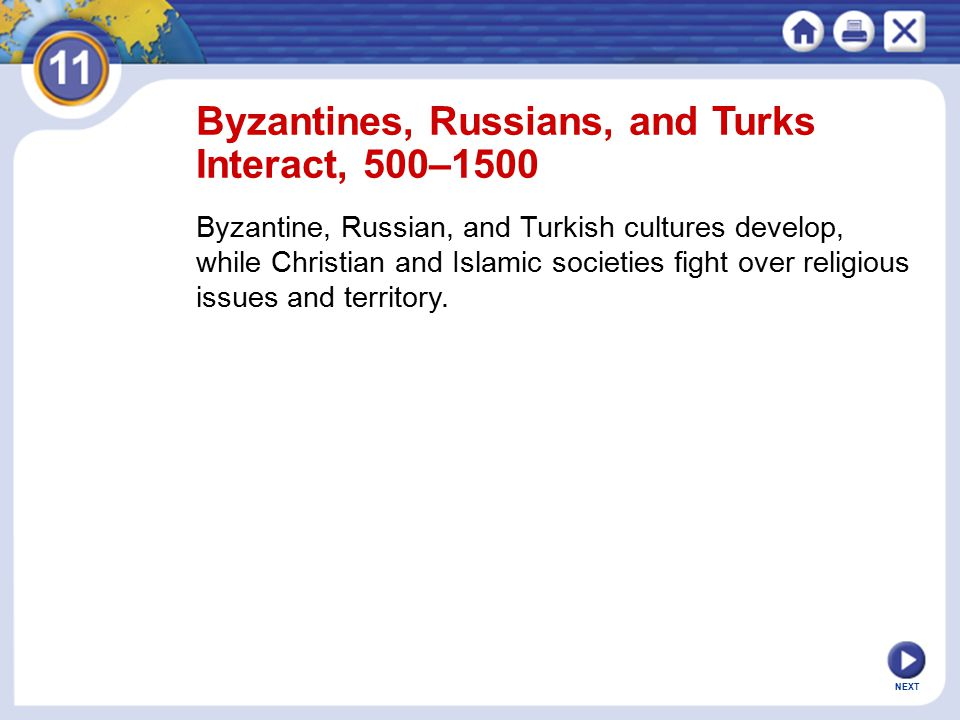 Byzantines, Russians, and Turks Interact, 500–1500