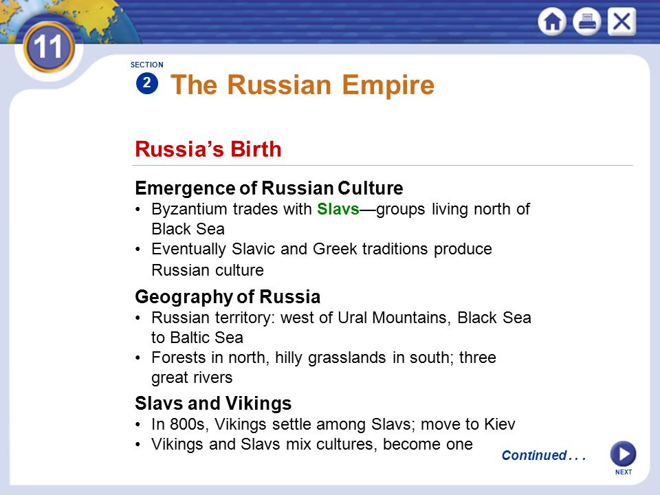 The Russian Empire Russia's Birth Emergence of Russian Culture