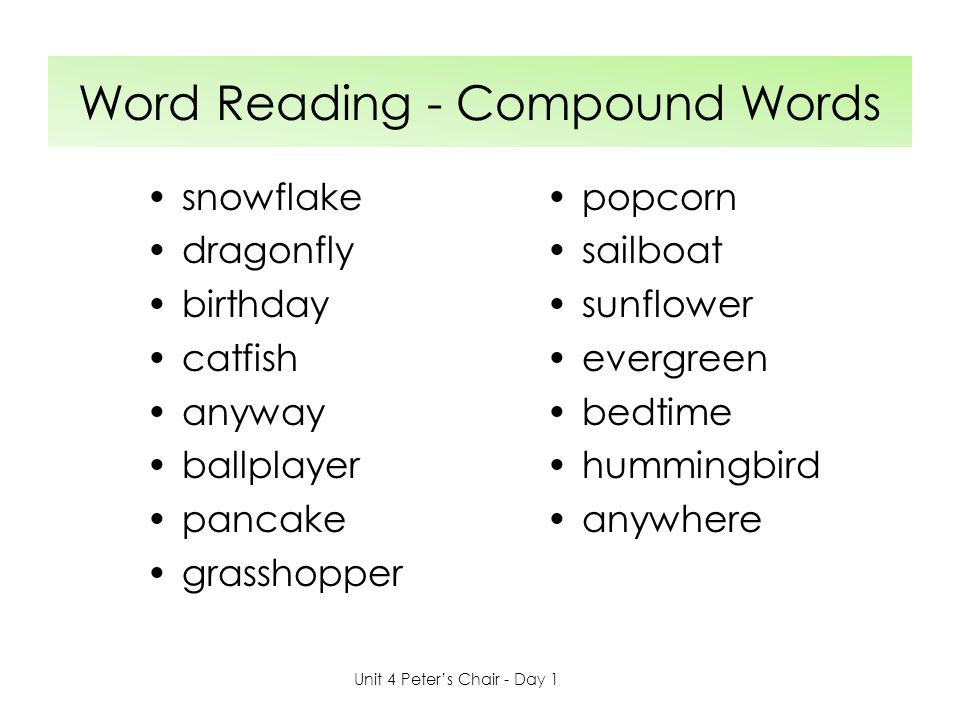 Word Reading - Compound Words