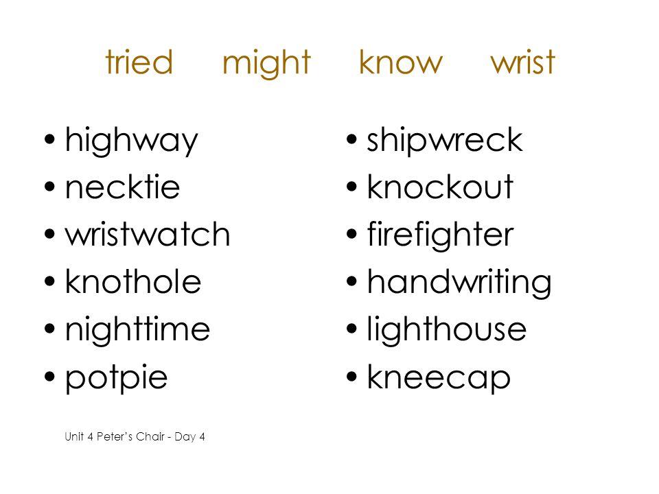tried might know wrist highway necktie wristwatch knothole nighttime